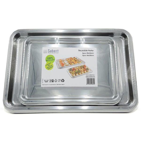 Sabert Rectangular Mix Platters SILVER X 10