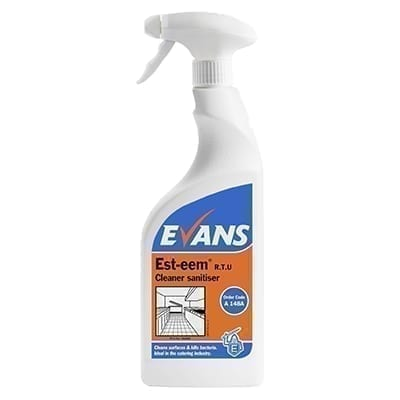 Evans Esteem Unperfumed Cleaner Sanitiser 750ML X 6