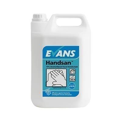 Evans Handsan 70% Alcohol Based Hand Disinfectant 5LTR