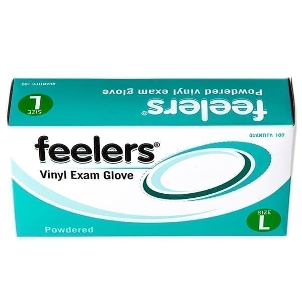 Feelers Vinyl Exam Gloves Powder Free Large X 100