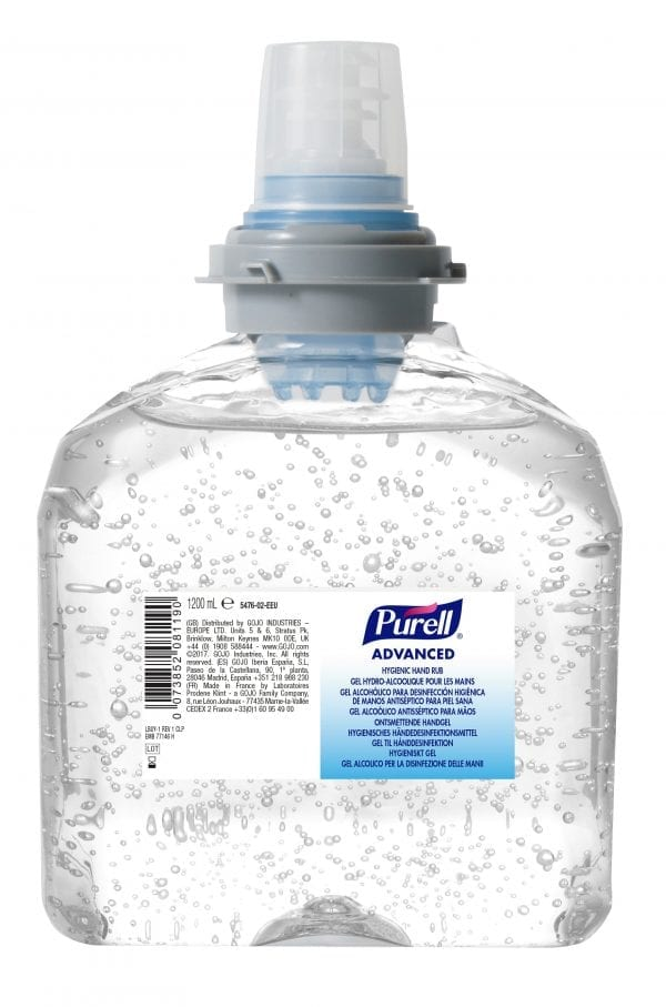 Gojo Purell Hygienic Hand Rub Auto Unit Refill Bottle CLEAR 1200ML X 2 5476-02