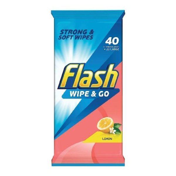 Flash Wipe And Go Wipes Lemon 40S X 10