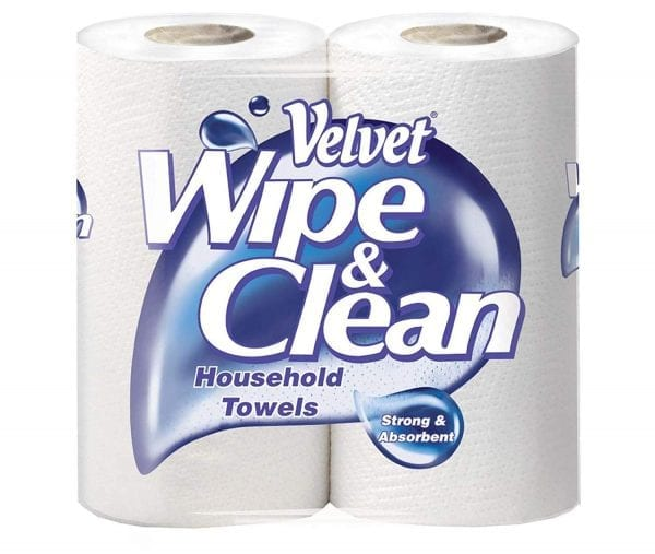 Velvet Wipe and Clean Kitchen Roll Towel 10pk X 2