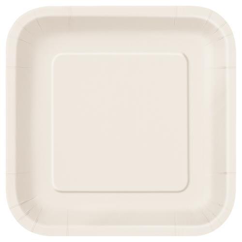 """9"""" cream square plates 24x10"""