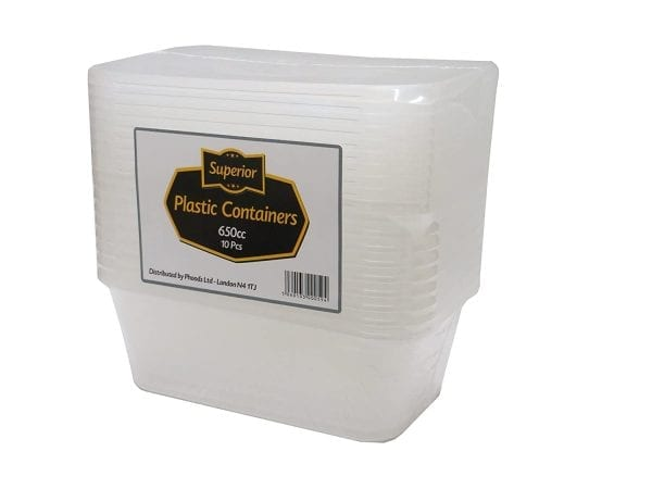 Superior Plastic Containers Packed 650CC Rectangular Clear 12 X 10
