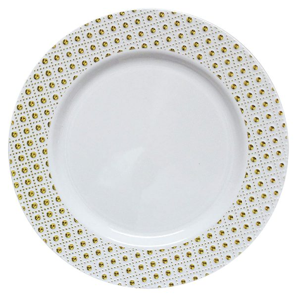 Sphere Collection Decor Plates WHITE/GOLD 10'' 12 X 10