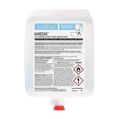 Evans Handsan Cartridge70% Alcohol-Based Hand Disinfectant1LTR X 6