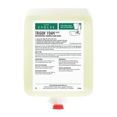 Evans Trigon Foam Plus CartridgeUnperfumed, Bactericidal, Foaming Hand Wash1LTR X 6