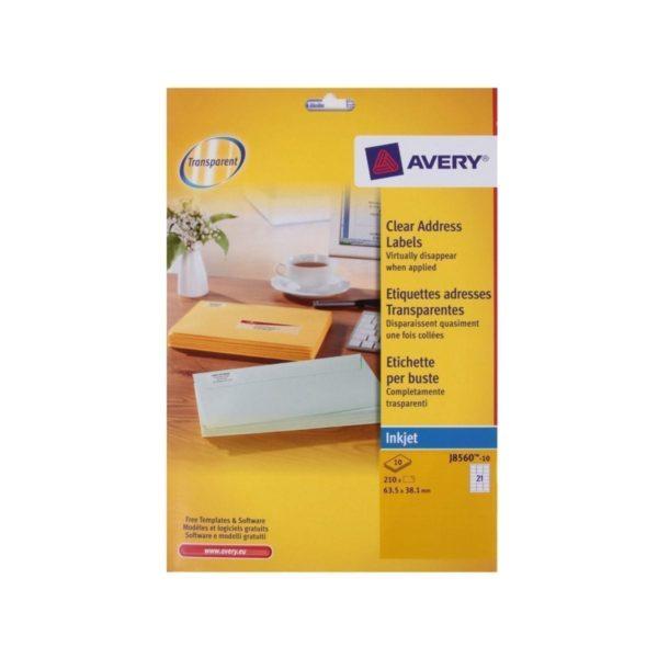 Avery Clear Inkjet Labels 63.5X38.1MM 21  Sheet X 525