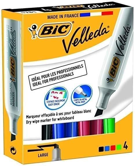 Bic velleda 1701 Dry Wipe Bullet Tip Whiteboard Marker Assorted X 4