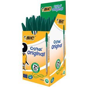 Bic Cristal Ballpoint Pen GREEN Medium 1.0MM Tip X 50