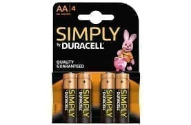 Duracell Simply batteries AA X 4