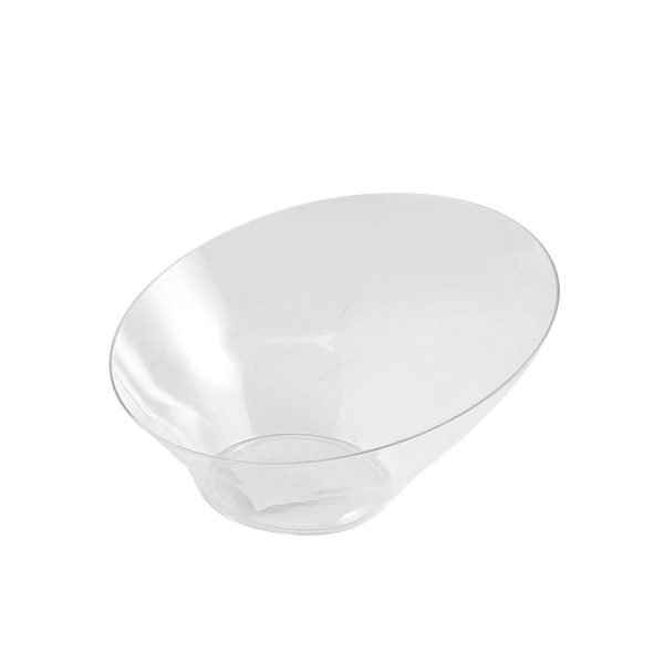 Oval Angled Bowl Clear Plastic Small X 25