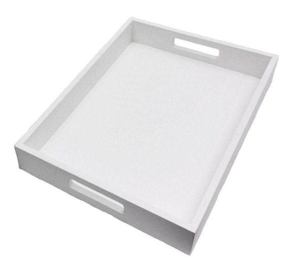 Wood Rectangular Tray WHITE Small X 25