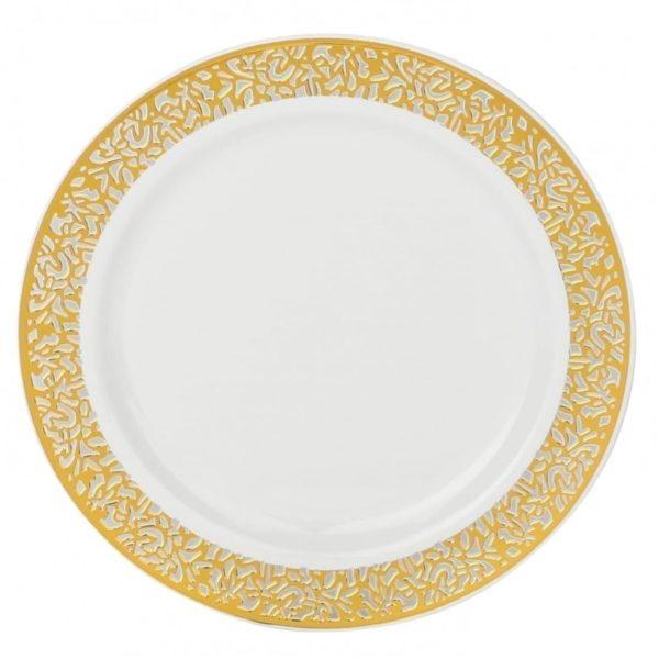 Confetti Collection Plates WHITE GOLD 10''  X 12