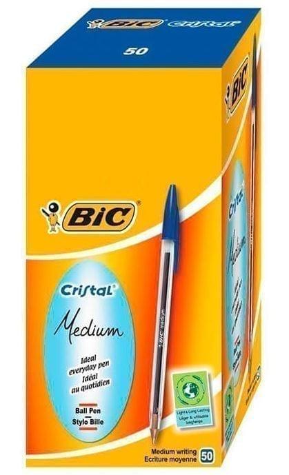 Bic Cristal  Ballpoint Pen BLUE Medium 1.0MM Tip X 50