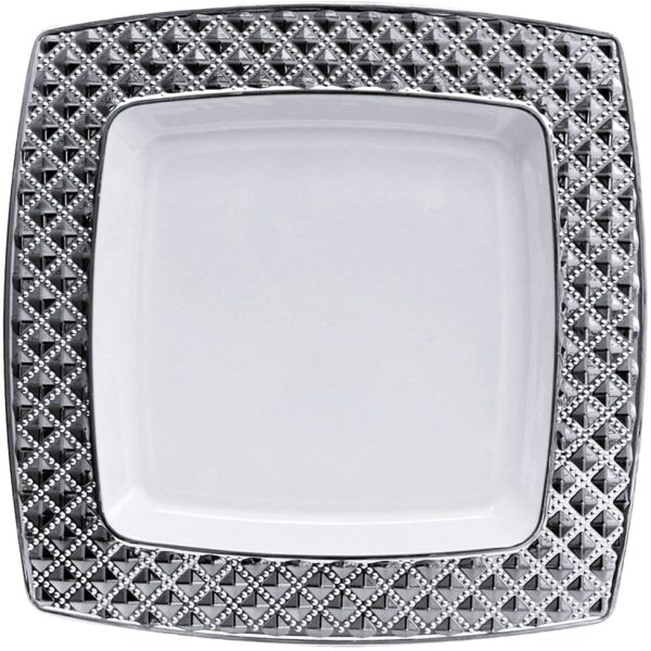 Diamond Plastic Dinner Plates WHITE/SILVER 10.75""