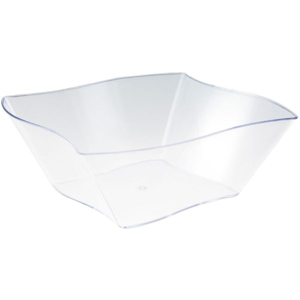 Mashers Elegant Wave Snack Dish CLEAR Plastic 7'' 50 X 12