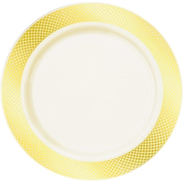 """Majestic Settings Aristocrat Collection Elegant Disposable Plates WHITE / GOLD 10"""""""