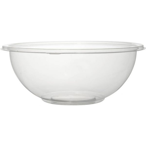 Disposable Plastic Salad Bowls with Lids CLEAR 1500CC X 3