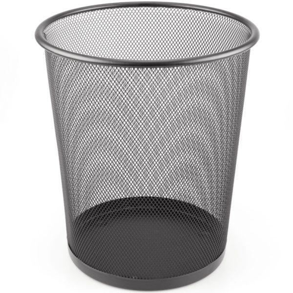 Mesh Waste Paper Bin Waste Basket BLACK Metal X 2