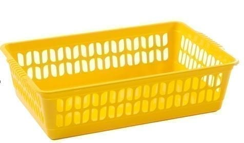 Work Place Single Handy Basket YELLOW Medium 29.5 x 19.5 x 10.5CM