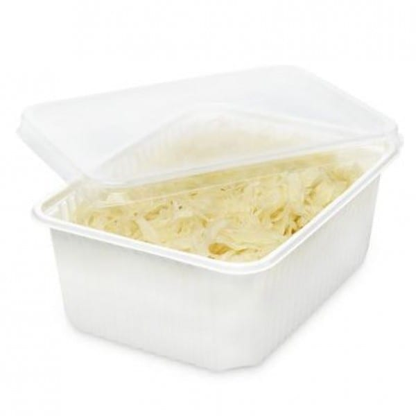 Rectangular plastic food container WHITE with CLEAR lid 3400 cc