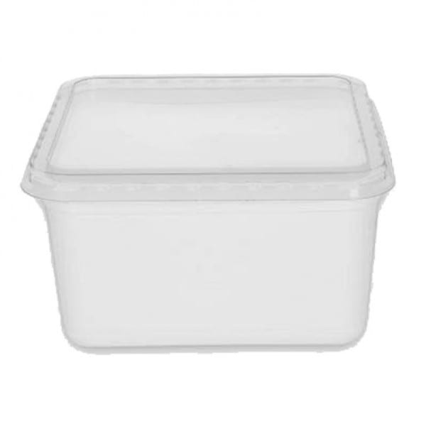 Rectangular plastic food container WHITE with CLEAR lid 1800 cc