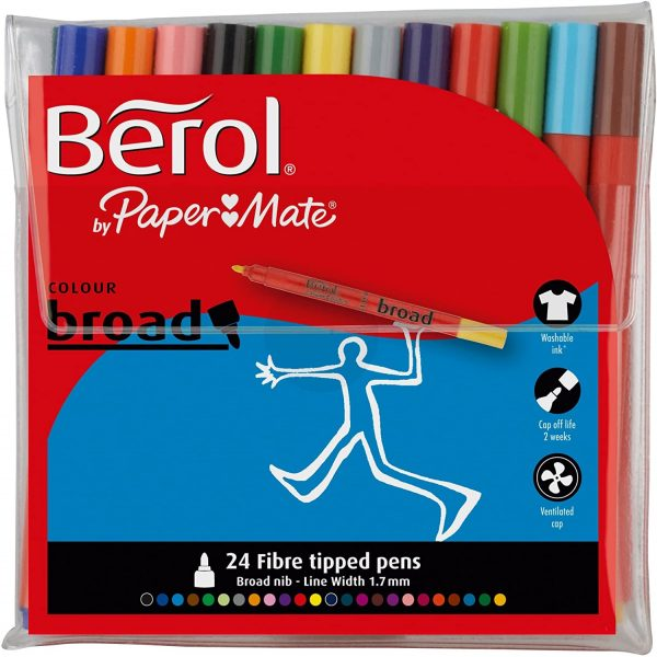 Berol Colour Broad Fibre Tip Pens Assorted X 12