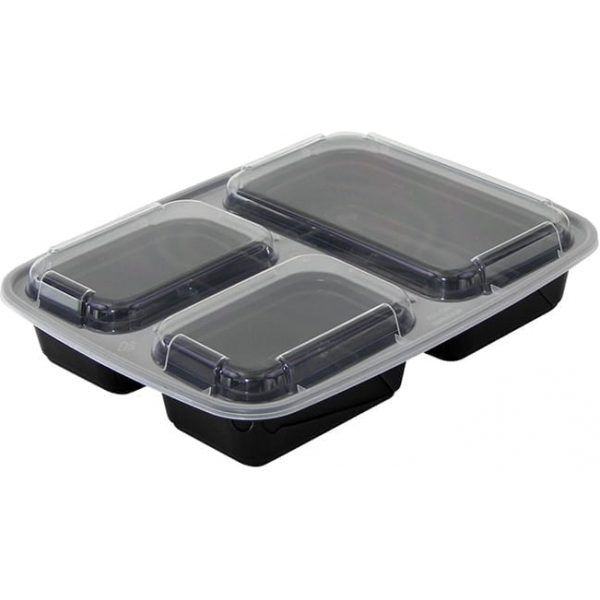 3 Compartment black Rectangle Container & Lids Microwave Container BLACK X 150