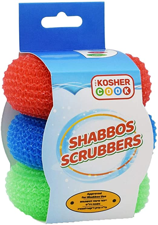 Shabbos Dish Cleaning Scrub Red, Dishwashing Scouring Pad Sponges for Shabbat RED GREEN BLUE 3PK