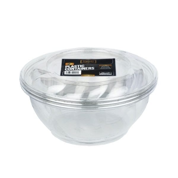 Packed Plastic Swirl Bowl With Swirl Lid 10″ Diameter 96OZ 2 X 8